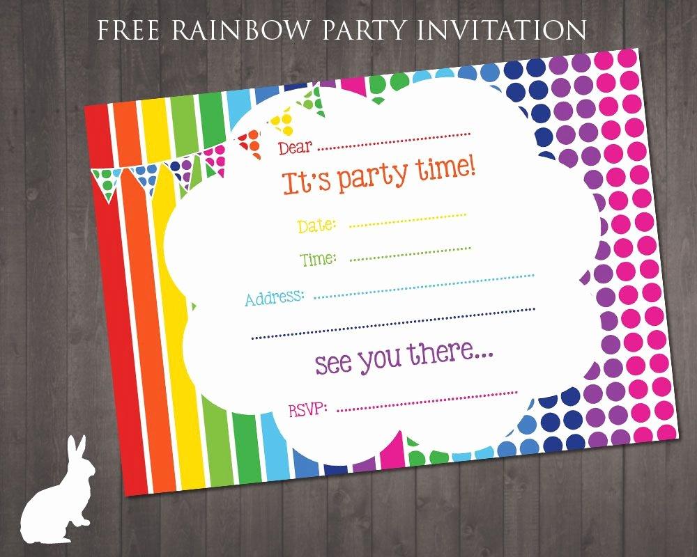 Free Printable Birthday Invitation Templates Beautiful Free Rainbow Party Invitation