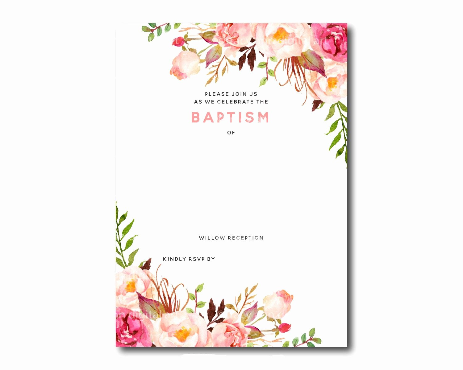 Free Printable Birthday Invitation Templates Elegant Awesome Free Template Free Printable Baptism Floral