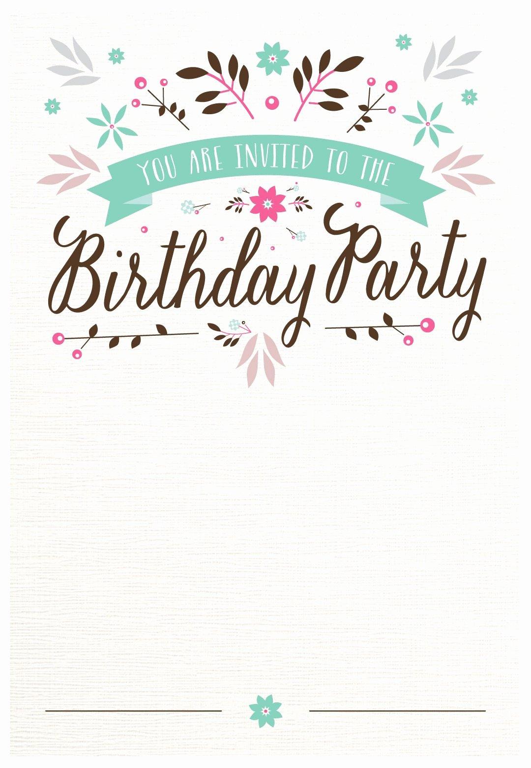 Free Printable Birthday Invitation Templates Fresh Flat Floral Free Printable Birthday Invitation Template