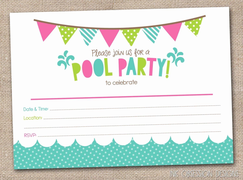 Free Printable Birthday Invitation Templates Inspirational Free Printable Pool Party Birthday Invitations