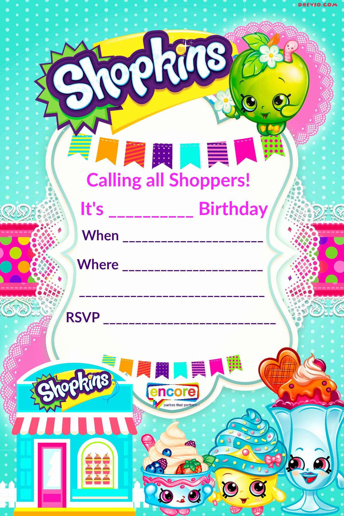 Free Printable Birthday Invitation Templates Luxury Updated – Free Printable Shopkins Birthday Invitation