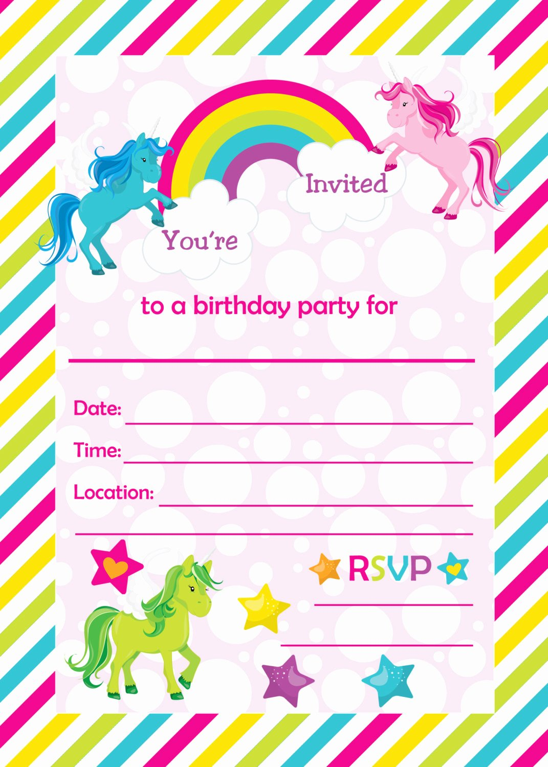 Free Printable Birthday Invitation Templates Unique Free Rainbow Birthday Invitations – Free Printable