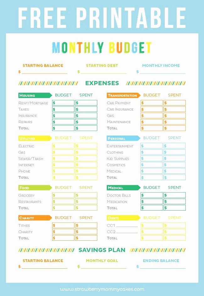 Free Printable Budget Templates Awesome Free Printable Bud Sheet