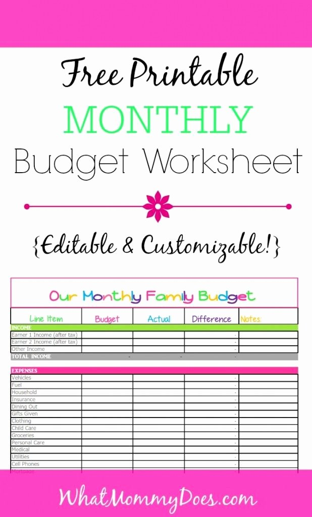 Free Printable Budget Templates New Cute Monthly Bud Printable – Free Editable Template