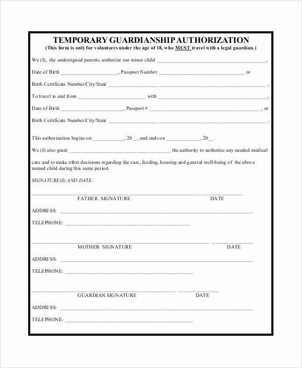 Free Printable Child Guardianship forms Beautiful Temporary Guardianship Agreement form
