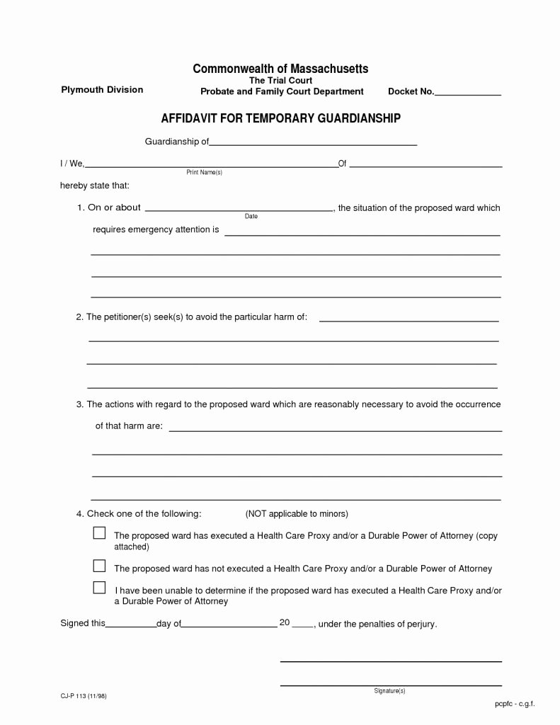 Free Printable Child Guardianship forms Fresh Legal Guardianship forms Free Printable Temporary form
