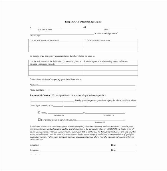 Free Printable Child Guardianship forms Inspirational 11 Custody Agreement Templates – Free Sample Example