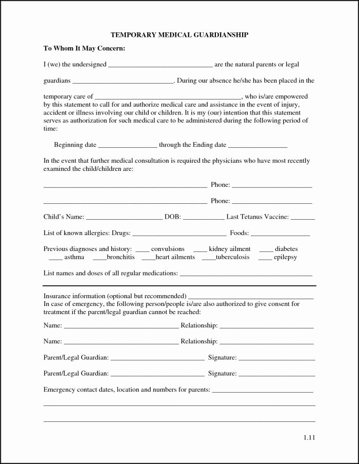 Free Printable Child Guardianship forms Inspirational Temporary Guardianship form for Grandparents Pdf