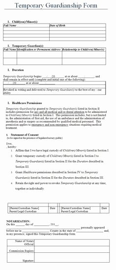 Free Printable Child Guardianship forms Inspirational the Temporary Guardianship form is A Free Printable Table