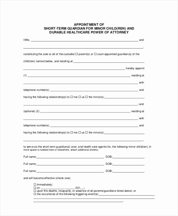 Free Printable Child Guardianship forms New Lovely Temporary Guardianship forms Free Printable Child