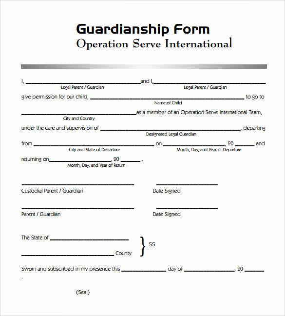 Free Printable Child Guardianship forms New Sample Legal Guardianship form 7 Download Documents In