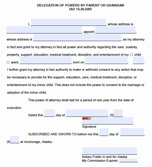 Free Printable Child Guardianship forms Unique Free Parental Power Of attorney Guardianship – Alaska