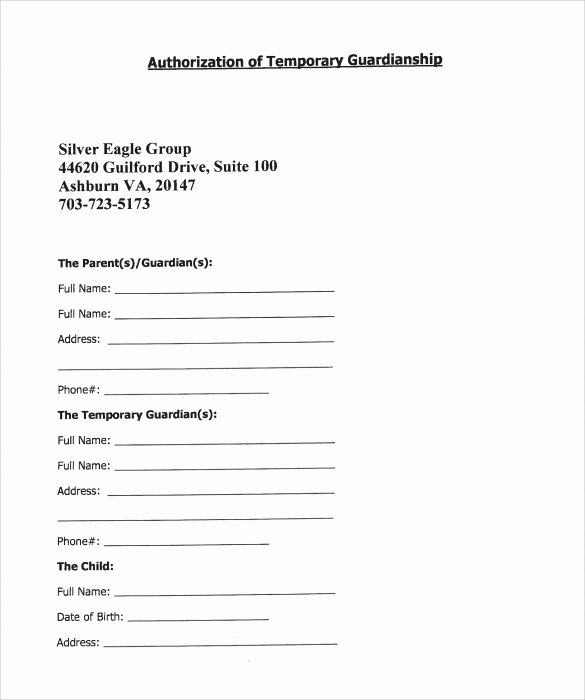 Free Printable Child Guardianship forms Unique Sample Temporary Guardianship form 8 Download Documents