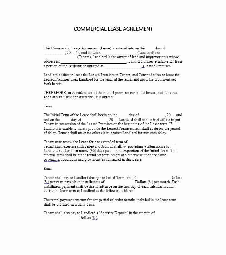 Free Printable Commercial Lease Agreement Beautiful 26 Free Mercial Lease Agreement Templates Template Lab