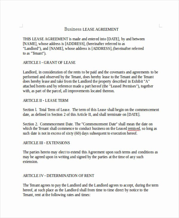 Free Printable Commercial Lease Agreement Best Of 9 Business Lease Agreement Sample Free Sample Example