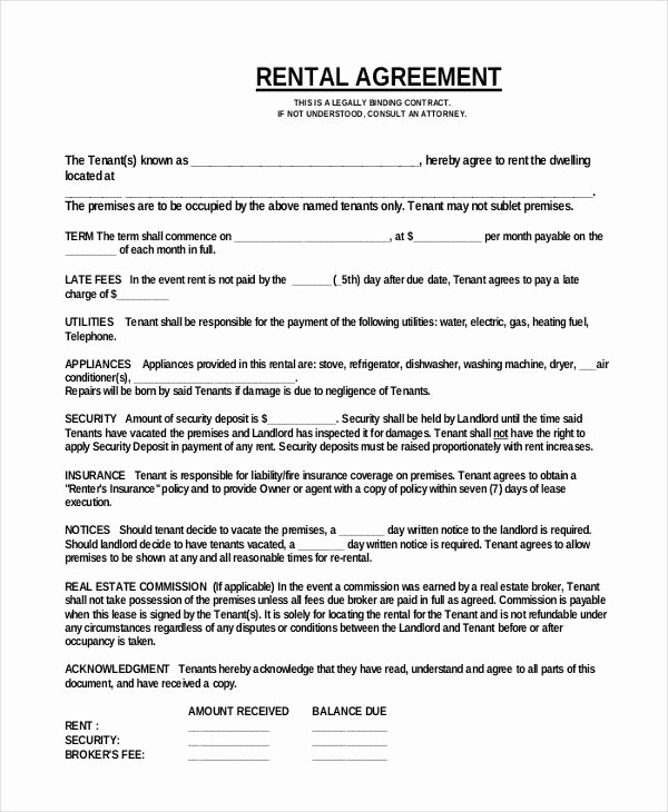 Free Printable Commercial Lease Agreement Elegant Simple E Page Mercial Rental Agreement Pdf Free