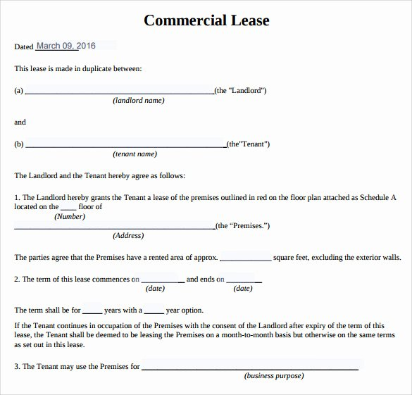 Free Printable Commercial Lease Agreement Fresh 10 Sample Mercial Lease Agreements