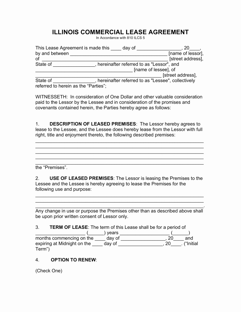Free Printable Commercial Lease Agreement Fresh Free Illinois Mercial Lease Agreement Template Pdf