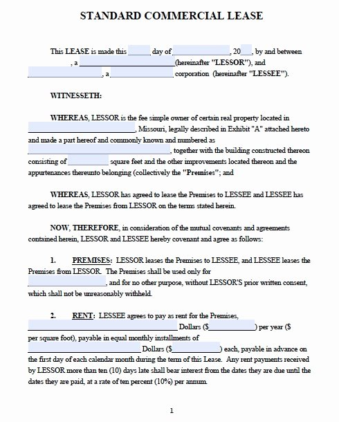 Free Printable Commercial Lease Agreement Fresh Mercial Lease Agreement
