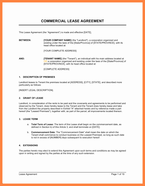 Free Printable Commercial Lease Agreement Lovely 4 Simple Mercial Lease Agreement Template
