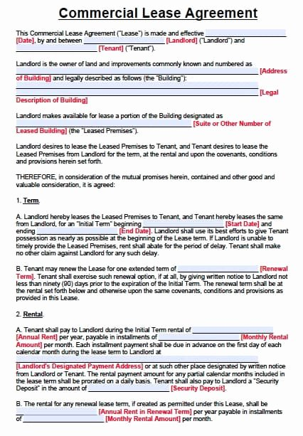 Free Printable Commercial Lease Agreement Lovely Free Texas Mercial Lease Agreement form – Pdf – Word