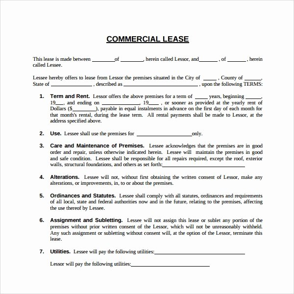 Free Printable Commercial Lease Agreement Lovely Sample Mercial Lease Agreement 6 Free Documents