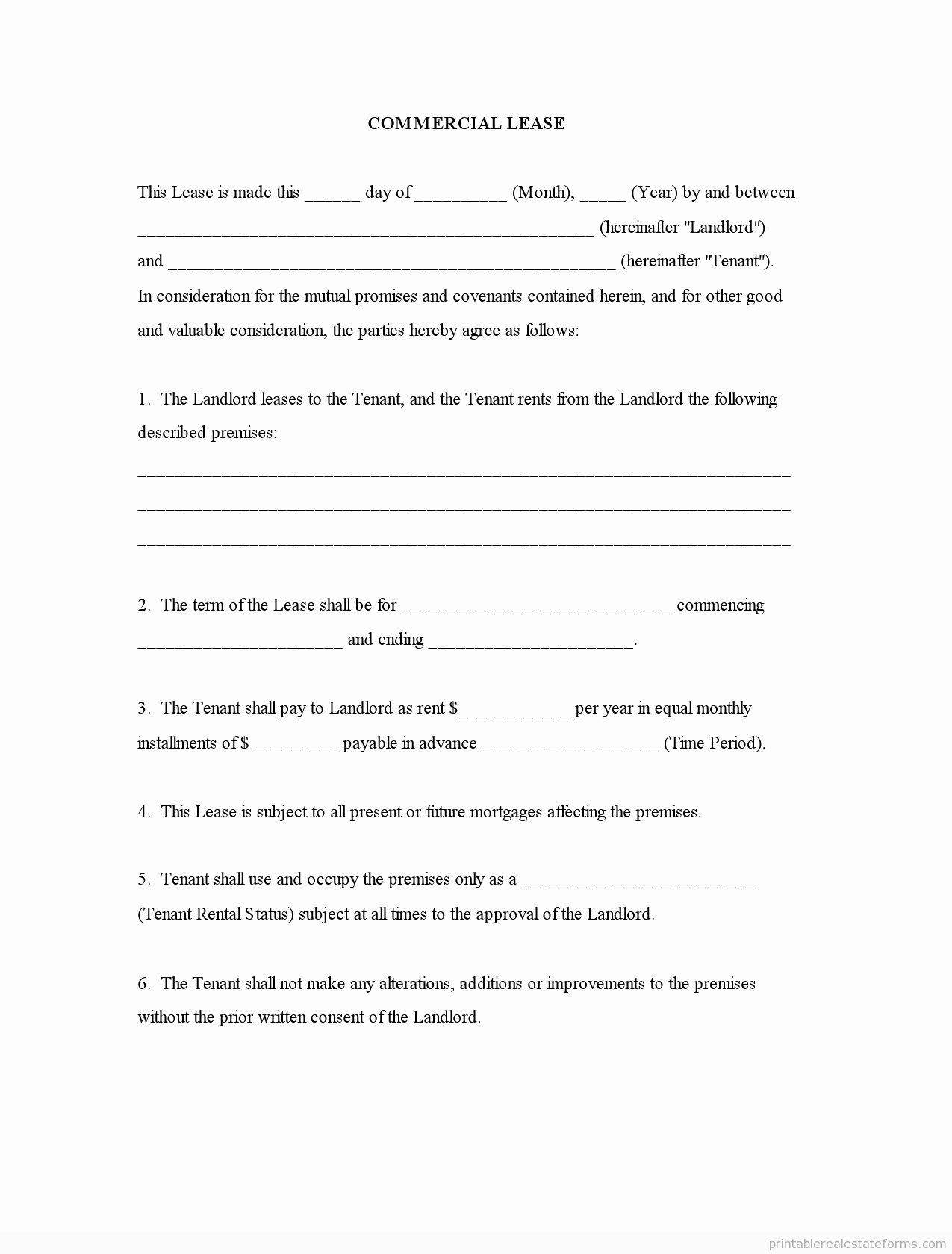 Free Printable Commercial Lease Agreement Luxury Free Mercial Lease Agreement forms to Print Template