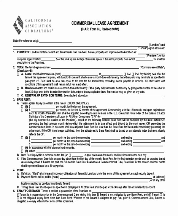 Free Printable Commercial Lease Agreement Unique Free 9 Printable Lease Agreement form Samples In Pdf