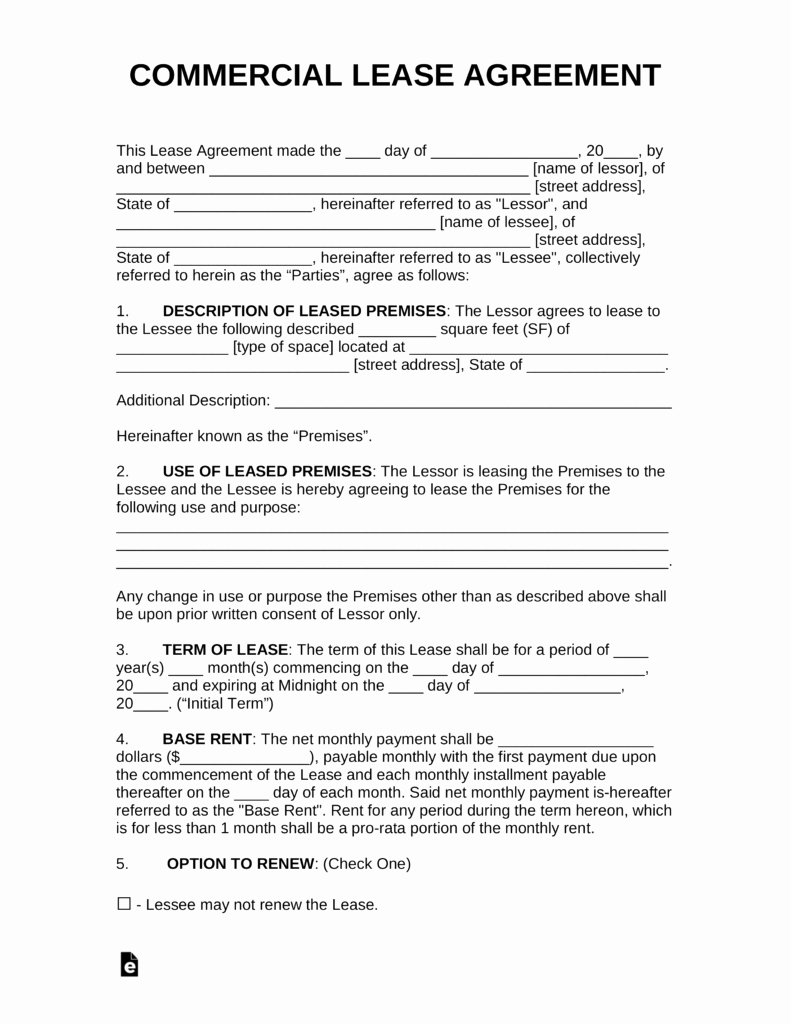Free Printable Commercial Lease Agreement Unique Free Mercial Rental Lease Agreement Templates Pdf