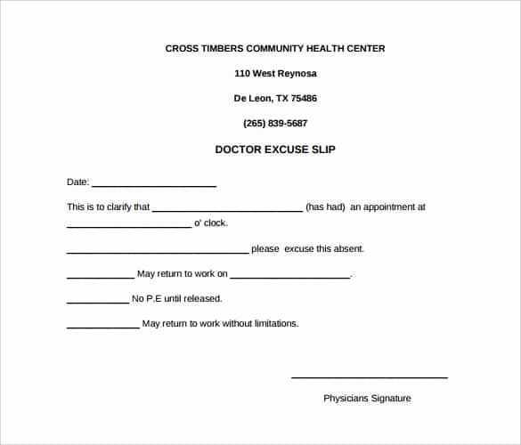 Free Printable Doctors Excuse Inspirational 4 Printable Doctor S Note for Work Templates Pdf Word