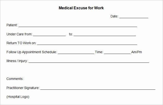 Free Printable Doctors Excuse Lovely Free Fill In the Blank Doctors Note