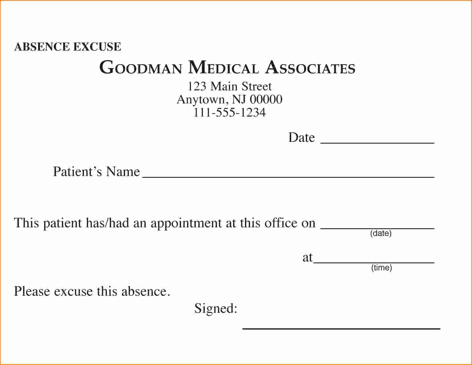 Free Printable Doctors Excuse Unique Free Printable Doctors Excuse for Work