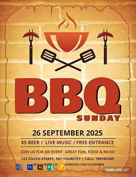 Free Printable event Flyer Templates Lovely Free Bbq Sunday Flyer Template Word Psd