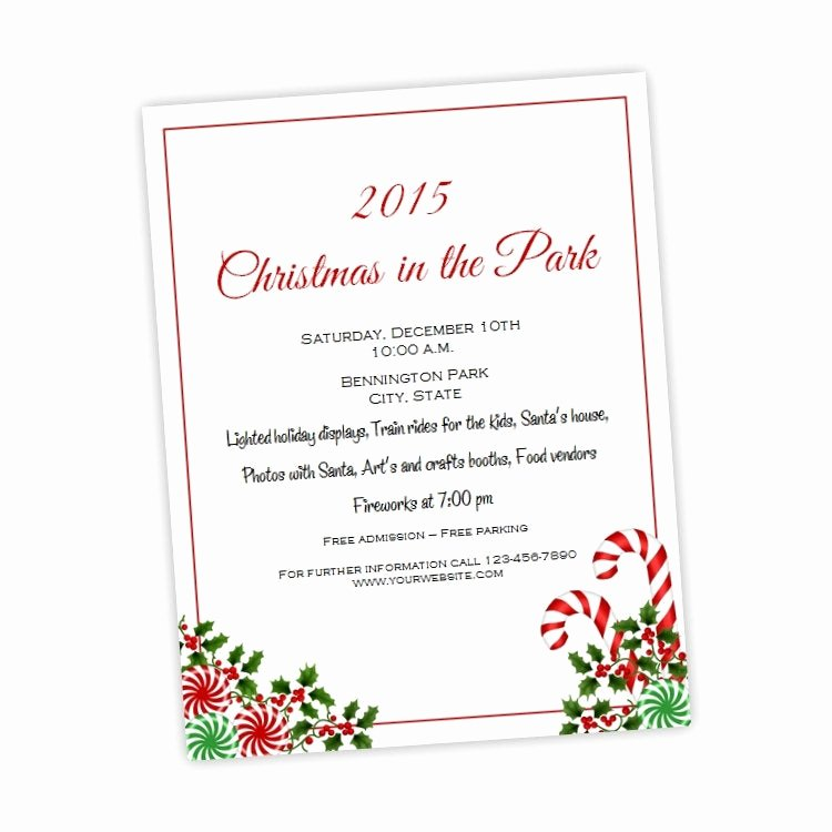 Free Printable event Flyer Templates Luxury Christmas or Holiday Party Flyer 8 5 X 11 Candy Canes and