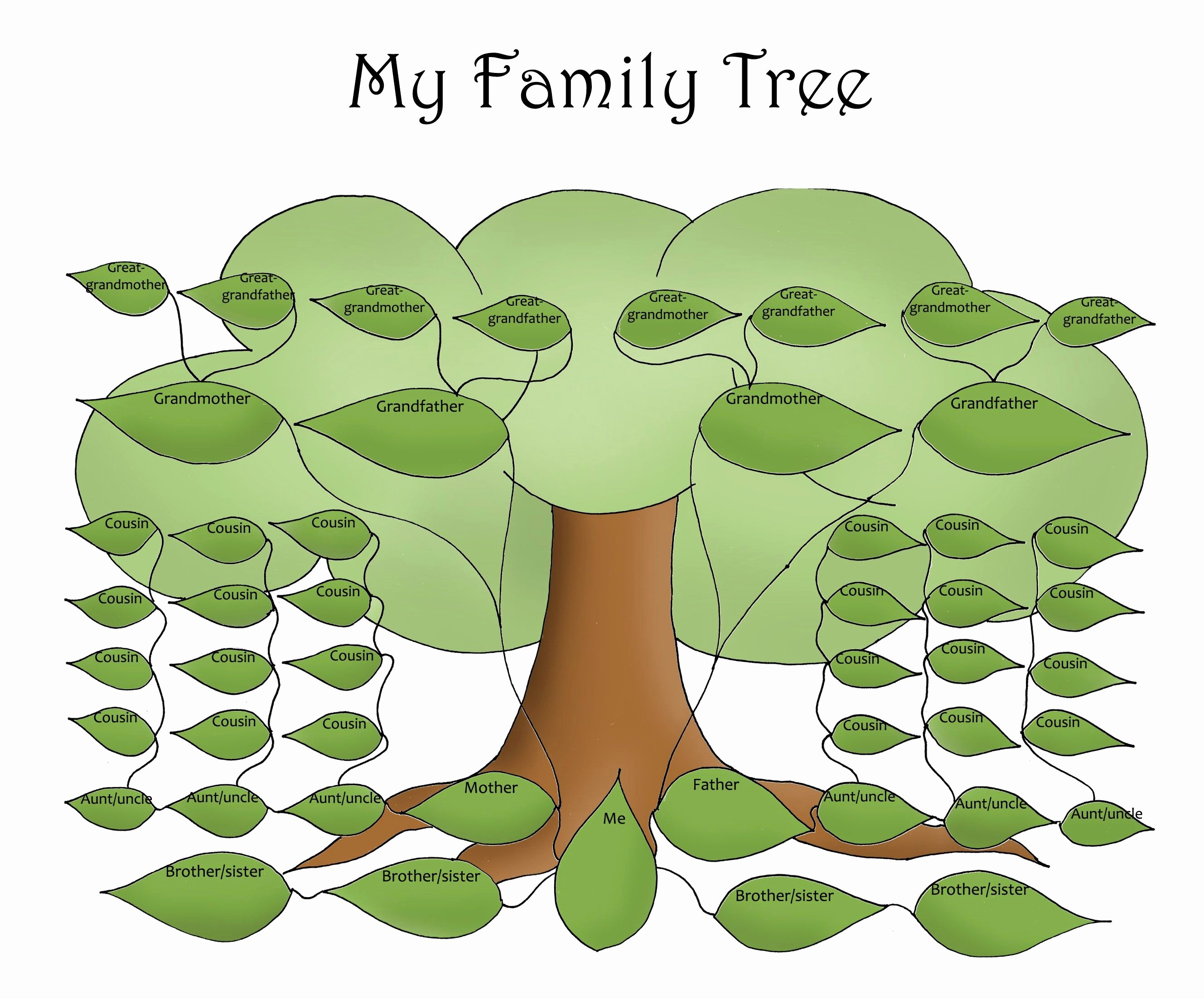 Free Printable Family Tree Lovely Free Editable Family Tree Template Daily Roabox