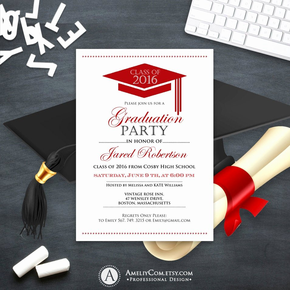Free Printable Graduation Invitations Beautiful Graduation Announcement Boy Printable Template Red High School