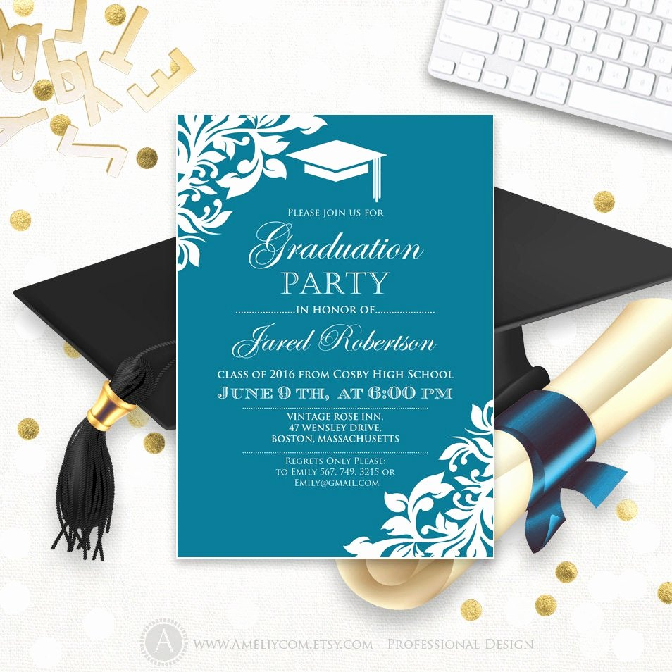 Free Printable Graduation Invitations Fresh Printable Graduation Party Invitation Template Blue Teal High