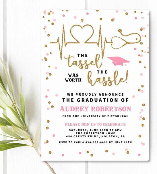 Free Printable Graduation Invitations Unique Free Editable Nurse Graduation Invitation Template