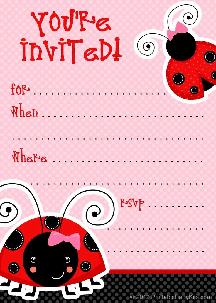 Free Printable Invitations Templates Beautiful 1 Free Printable Ladybug Invitation Blank Template 2