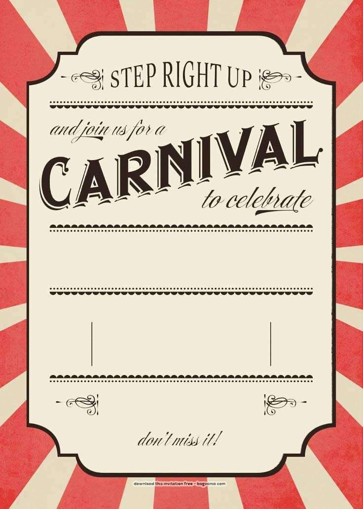 Free Printable Invitations Templates Beautiful Free Carnival Birthday Invitations – Free Printable