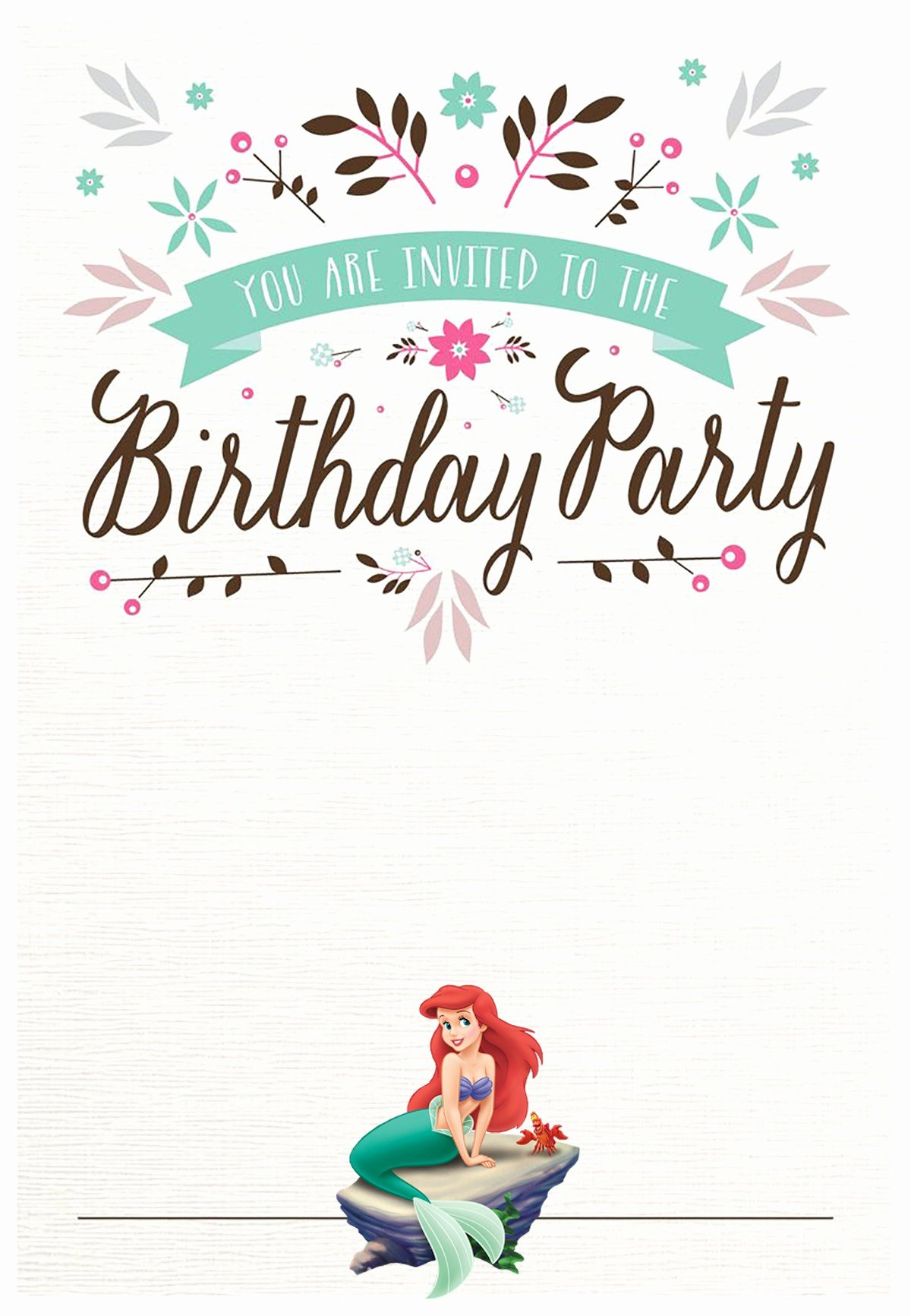 Free Printable Invitations Templates Unique Little Mermaid Free Printable Invitation Templates