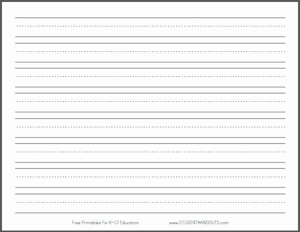 "Free Printable Lined Paper Fresh Primary Dashed Writing Paper with 1"" Lines"