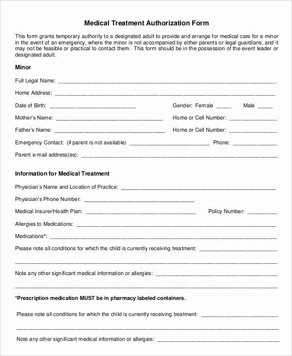 Free Printable Medical forms Awesome 10 Printable Medical Authorization forms Pdf Doc