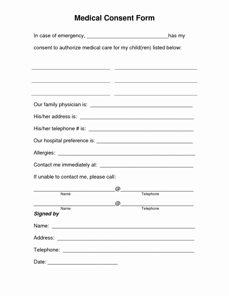 Free Printable Medical forms Awesome Free Printable Medical Consent form