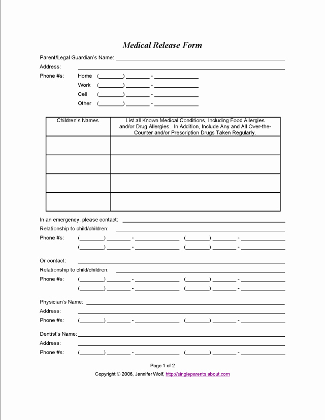 Free Printable Medical forms Elegant 4 Free Printable forms for Single Parents