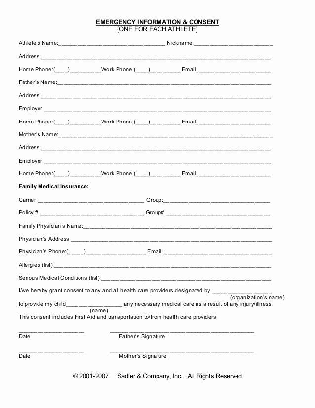 Free Printable Medical forms Fresh Emergency Information Medical Consent form