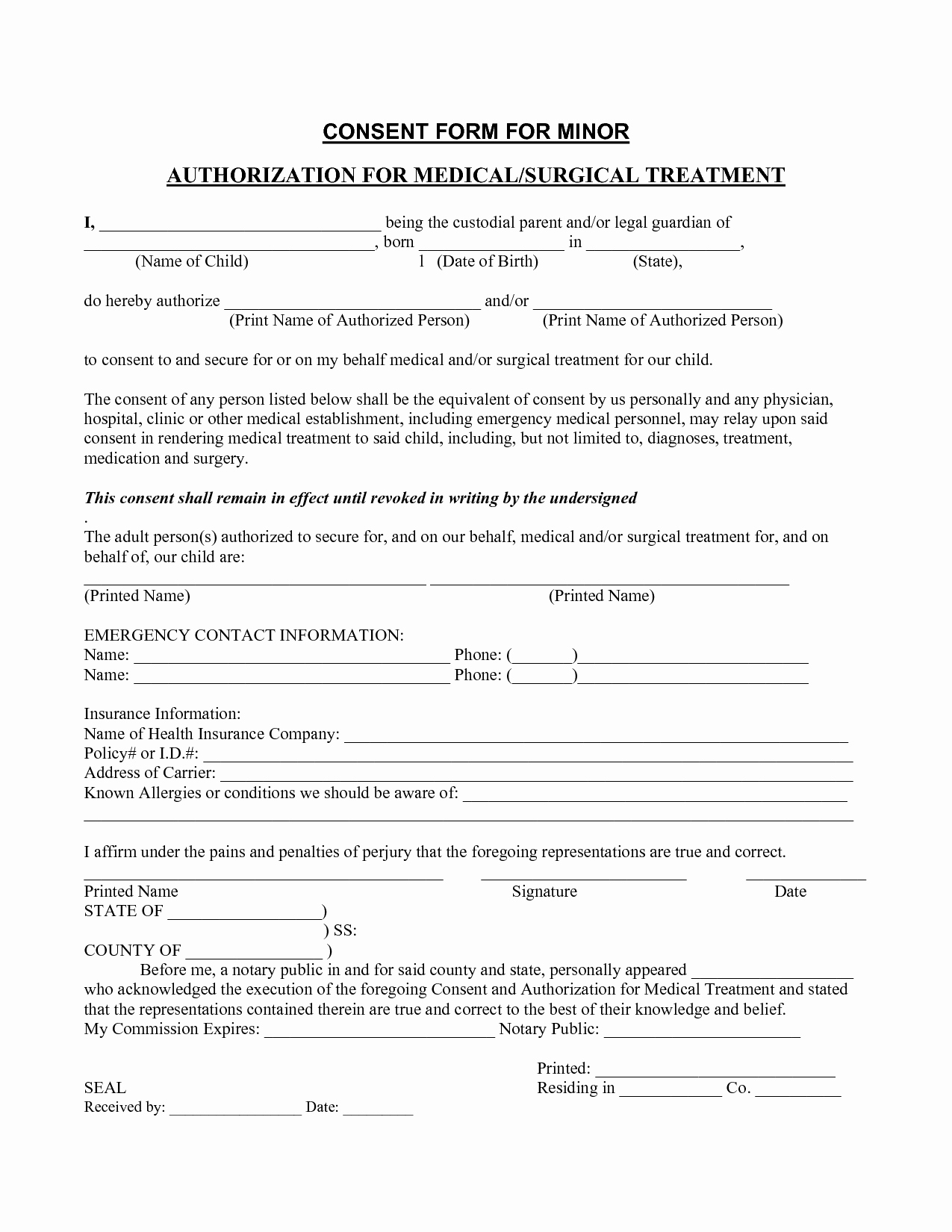 Free Printable Medical forms Lovely Medical Consent form Template