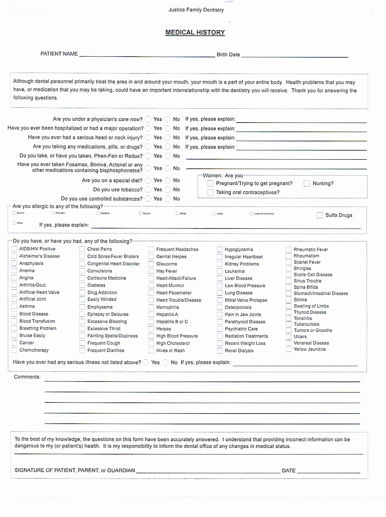 Free Printable Medical forms Luxury Medical History form Template – Medical form Templates