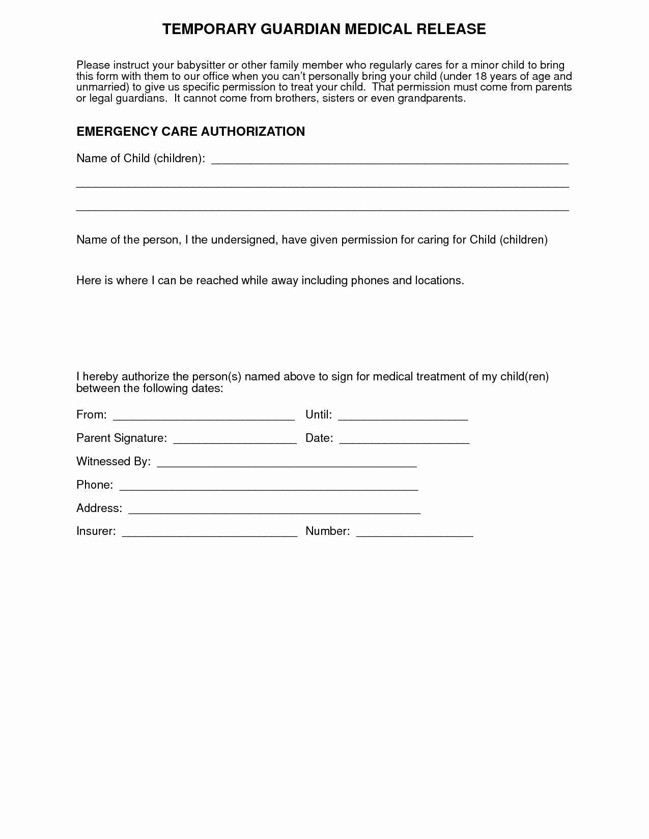 Free Printable Medical Release form Beautiful Medical Release form for Grandparents