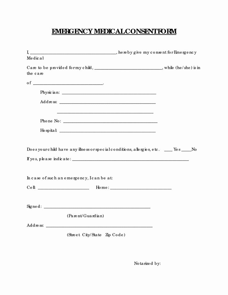 Free Printable Medical Release form Elegant Emergency Medical Consent form Free Printable Documents